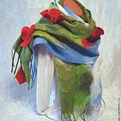 """Аксессуары ручной работы. Ярмарка Мастеров - ручная работа валяный шарф-паутинка """"Маковый"""". Handmade."""