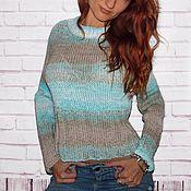 Одежда ручной работы. Ярмарка Мастеров - ручная работа Свитер женский бирюзово-бежевый, хлопковый свитер крупной вязки. Handmade.