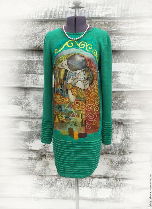 Платья ручной работы. Ярмарка Мастеров - ручная работа. Купить Поцелуй Климт Платье  Изумрудное. Handmade. Платье, платья из трикотажа