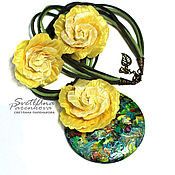 Украшения handmade. Livemaster - original item Pendant from polymer clay Sunny yellow (352) (471). Handmade.