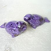 Figurines handmade. Livemaster - original item Figures ringed Seals from charoite. Handmade.