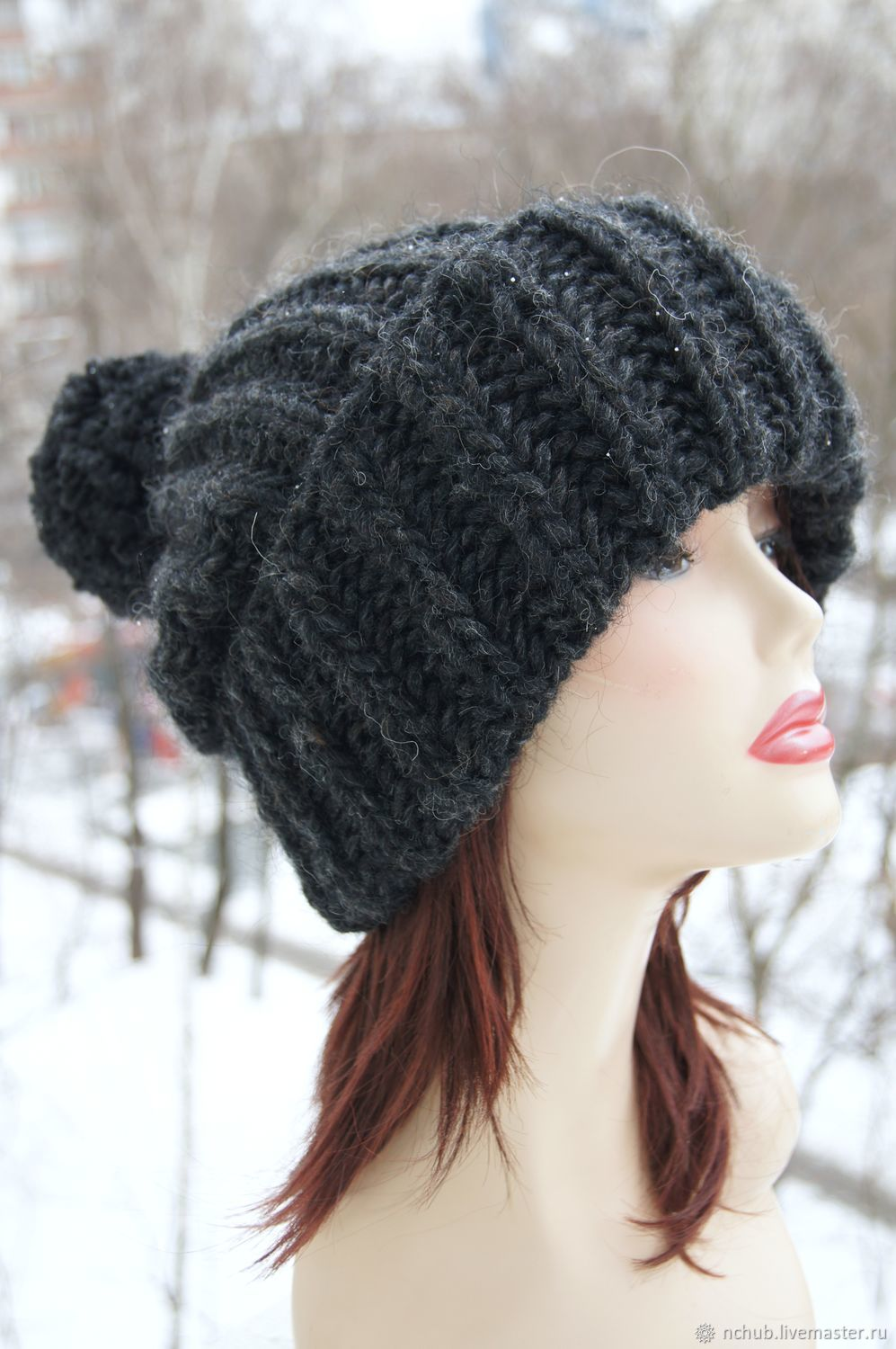 Black knitted Hat made of 100% Icelandic wool, Caps, Moscow,  Фото №1
