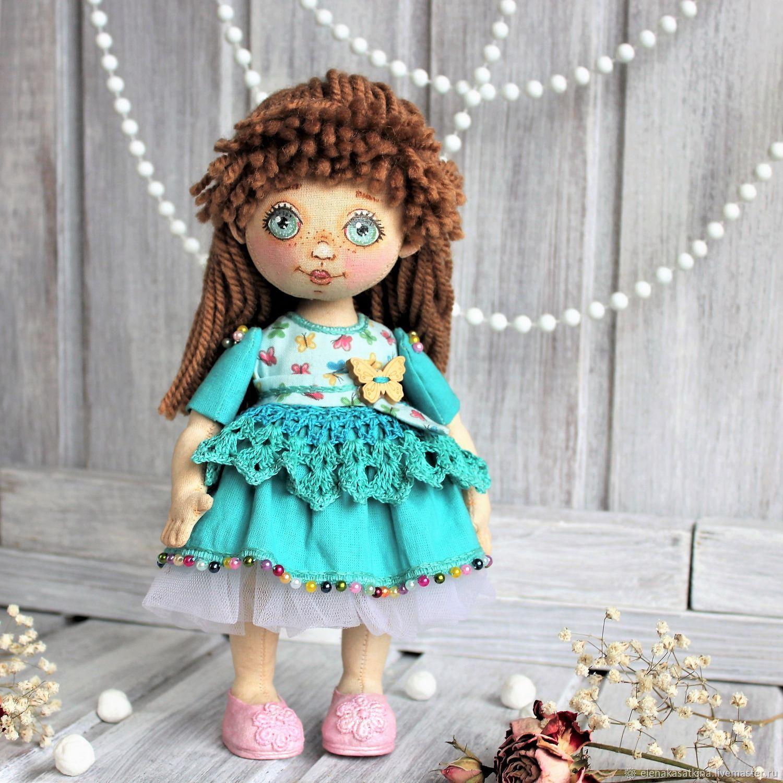 Куколка текстильная в бирюзовом платьице, Коллекционные куклы, Междуреченск, Фото №1