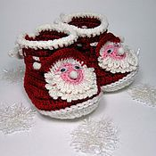 Работы для детей, handmade. Livemaster - original item Christmas booties Santa Claus, knitted Christmas booties. Handmade.