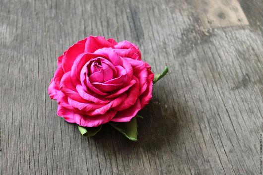 Заколки ручной работы. Ярмарка Мастеров - ручная работа. Купить Резинка для волос с розой из фоамирана. Handmade. Фуксия, украшения для выпускного