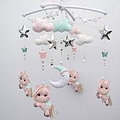 Работы для детей, handmade. Livemaster - original item Children`s mobile on the crib Horses Ponies Moon Stars. Handmade.