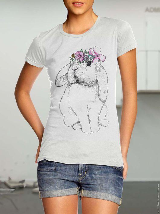 Футболки, майки ручной работы. Ярмарка Мастеров - ручная работа. Купить Весенний крольчонок футболка ручной росписи весенний подарок. Handmade.