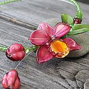 Украшения ручной работы. Ярмарка Мастеров - ручная работа Колье лэмпворк орхидеи. Handmade.