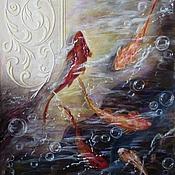 """Картины и панно ручной работы. Ярмарка Мастеров - ручная работа Картина """"Золотые рыбки"""". Handmade."""