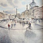 """Картины и панно ручной работы. Ярмарка Мастеров - ручная работа """"Площадь в Риме"""", акварель. Handmade."""