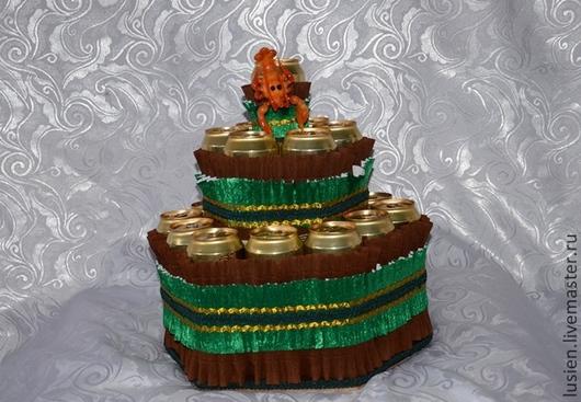Персональные подарки ручной работы. Ярмарка Мастеров - ручная работа. Купить Торт из пива. Handmade. Зеленый, подарок мужчине, гофробумага