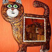 """Для дома и интерьера ручной работы. Ярмарка Мастеров - ручная работа Зеркало""""Кот"""".. Handmade."""