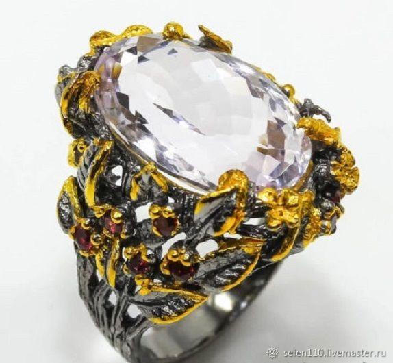 Ring 'Fleur', pink amethyst and rhodolite, Rings, Voronezh,  Фото №1