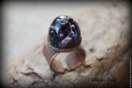 """Кольца ручной работы. Ярмарка Мастеров - ручная работа. Купить Кольцо """"Спирали далеких миров"""". Handmade. Тёмно-синий, вселенная"""