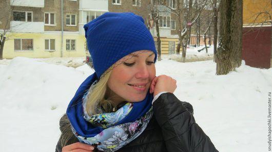 Купить шапку и снуд из трикотажа на заказ.Интернет-магазин шапок.Сезон осень-зима.Ручная работа.Подарок девушке/женщине.Ярмарка Мастеров.Синий.http://www.livemaster.ru/snudyishapochki