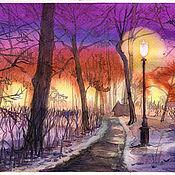 Картины и панно handmade. Livemaster - original item Pictures: Spring evening in the Park. Handmade.