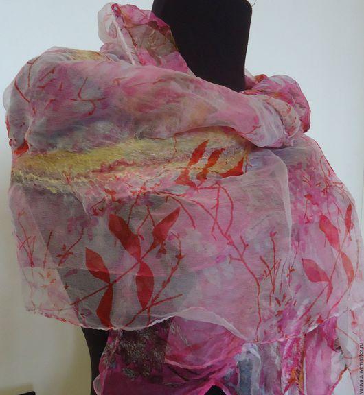 Шали, палантины ручной работы. Ярмарка Мастеров - ручная работа. Купить валяный  шарф  Розовые сны. Handmade. Палантин