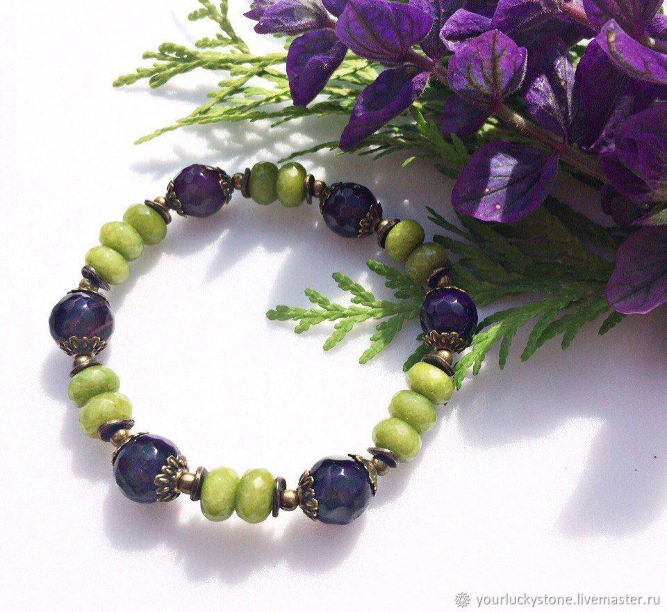 Bracelet made of natural jade and agate, Bead bracelet, Tolyatti,  Фото №1