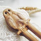 Украшения ручной работы. Ярмарка Мастеров - ручная работа Заколка Сова деревянная резная, каштановое дерево. Handmade.