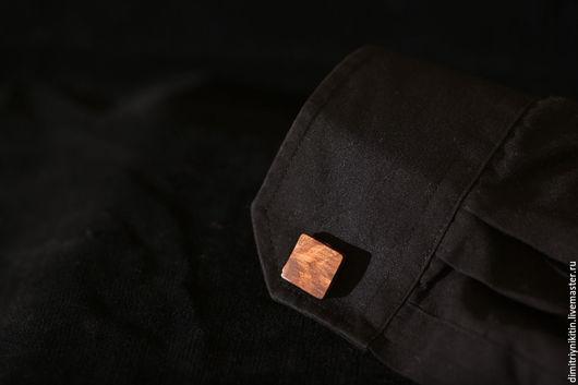Запонки ручной работы. Ярмарка Мастеров - ручная работа. Купить (Орех) квадратные простые запонки. Handmade. Коричневый, грецкий орех