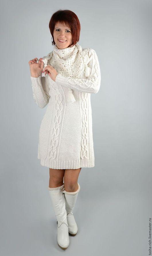 Платья ручной работы. Ярмарка Мастеров - ручная работа. Купить Вязаное платье. Handmade. Белый, белое платье
