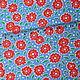 """Шитье ручной работы. Хлопок 100% """"Красные цветочки на васильковом"""" (арт.3713) Корея. 'Яркие ткани'. Интернет-магазин Ярмарка Мастеров."""