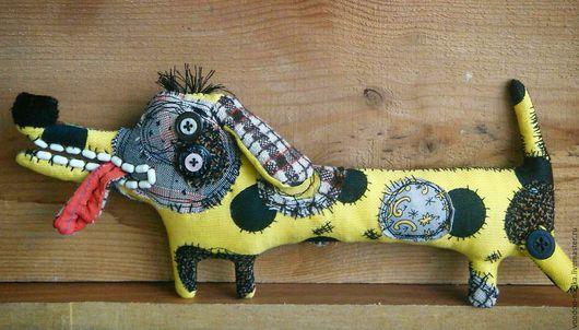 Игрушки животные, ручной работы. Ярмарка Мастеров - ручная работа. Купить Весёлый собакен игрушка текстильная такса. Handmade. Желтый
