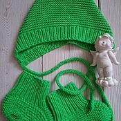Работы для детей, ручной работы. Ярмарка Мастеров - ручная работа Комплект для новорожденного чепчик и пинеточки (носочки). Handmade.