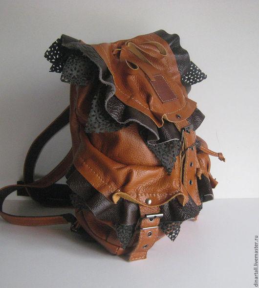 Рюкзаки ручной работы. Ярмарка Мастеров - ручная работа. Купить кожаный рюкзак  рыжий. Handmade. Коричневый, рюкзак ручной работы