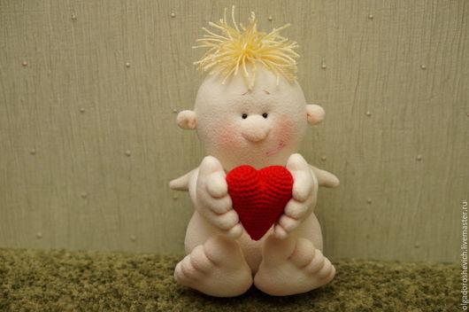 Сказочные персонажи ручной работы. Ярмарка Мастеров - ручная работа. Купить Ангелочек Вязаное сердце. Handmade. Белый, ангелок, Амур