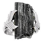 Украшения ручной работы. Ярмарка Мастеров - ручная работа Кольцо серебро, черный турмалин - шерл. Handmade.