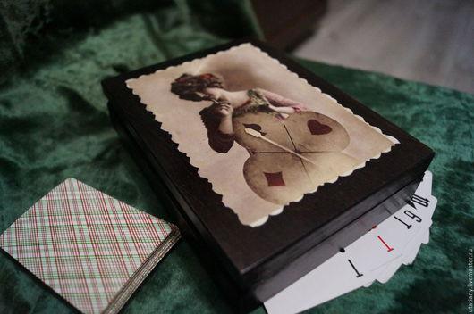 """Шкатулки ручной работы. Ярмарка Мастеров - ручная работа. Купить Шкатулка для карт """"Дама сердца"""". Handmade. Коричневый, шкатулка декупаж"""
