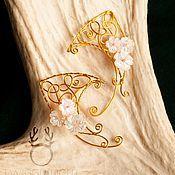 Украшения ручной работы. Ярмарка Мастеров - ручная работа Эльфийские ушки с цветами. Handmade.