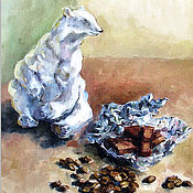 Открытки handmade. Livemaster - original item Coffee Chocolate and Porcelain Bear Greeting Card. Handmade.