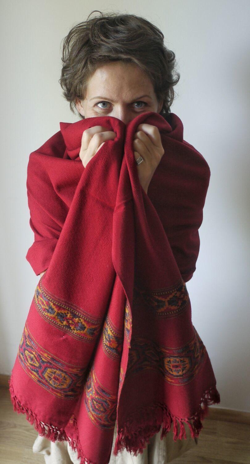 "Палантин из шерсти яка "" Ягодка малинка"", Палантины, Москва,  Фото №1"