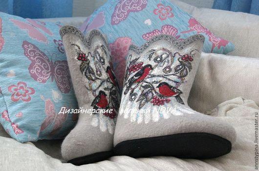 Обувь ручной работы. Ярмарка Мастеров - ручная работа. Купить снегирики. Handmade. Серый, дизайнерские валенки, валенки