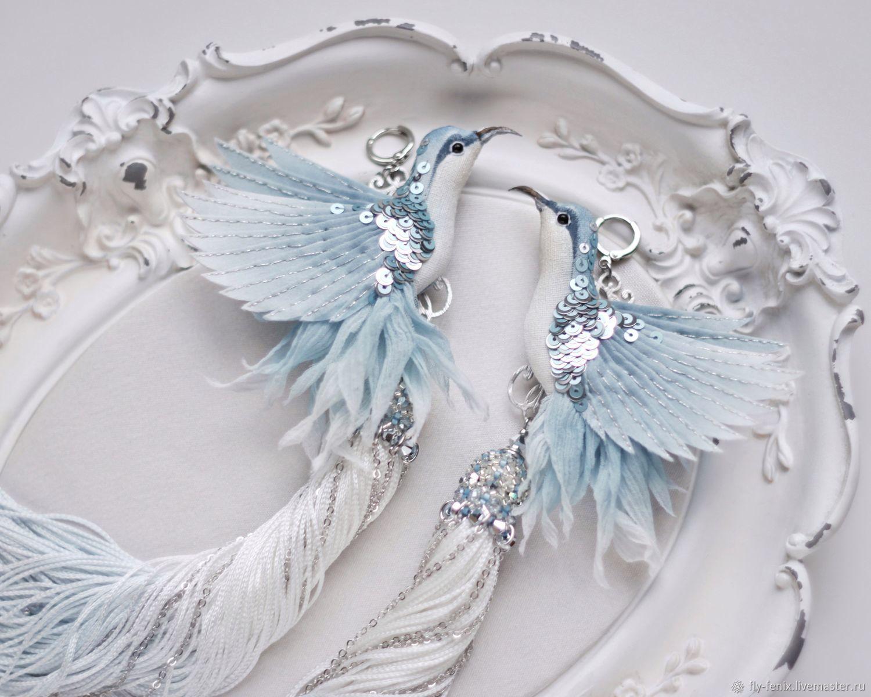 Earrings with birds Hummingbird 'heavenly', Earrings, Moscow,  Фото №1