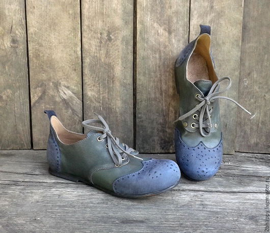 Обувь ручной работы. Ярмарка Мастеров - ручная работа. Купить Кожаные полуботинки ETCETERA. Handmade. Синий, бледно-зеленый
