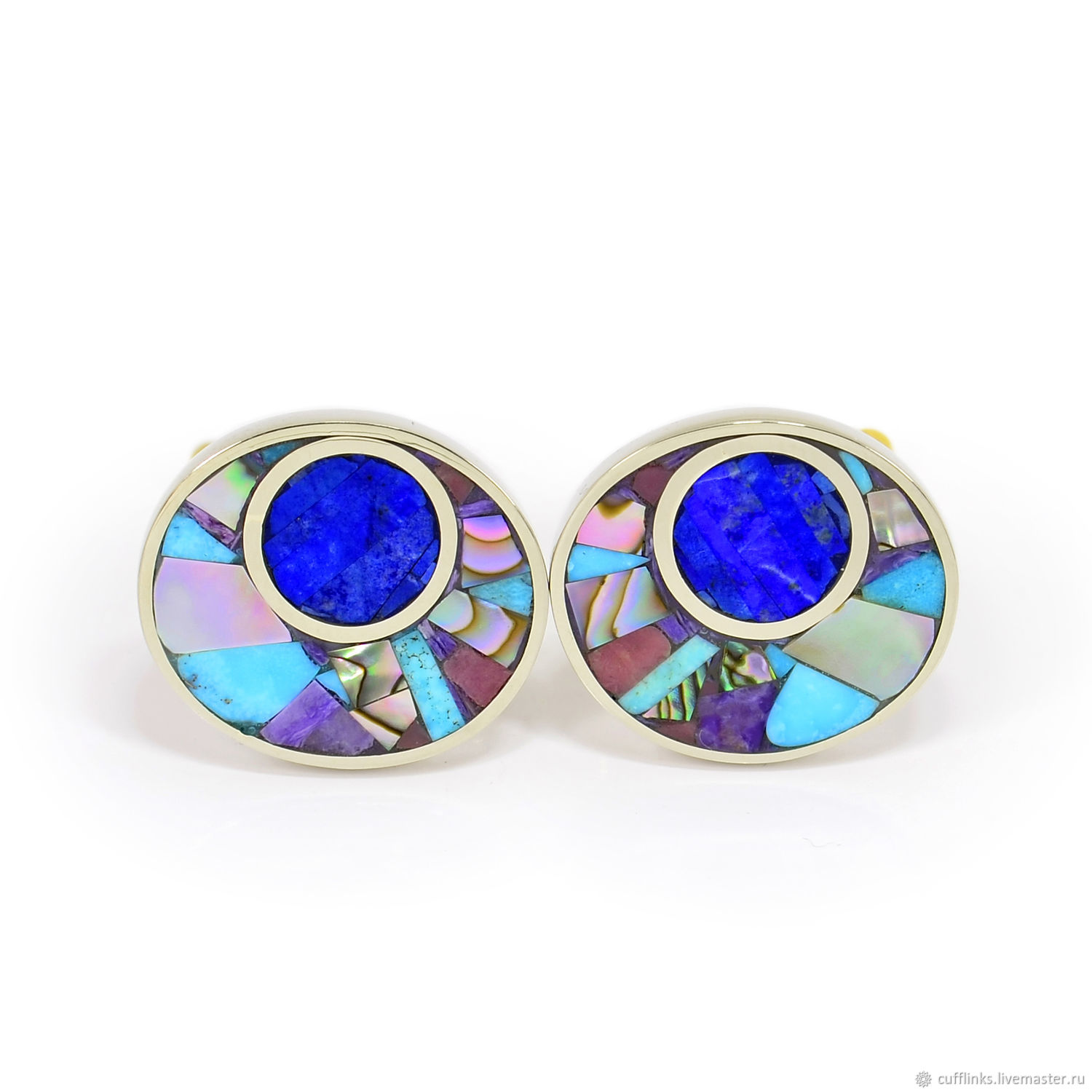 CUFFLINKS - lapis Lazuli, Charoite, mother of Pearl, Turquoise. Oval cufflinks, Cuff Links, Moscow,  Фото №1