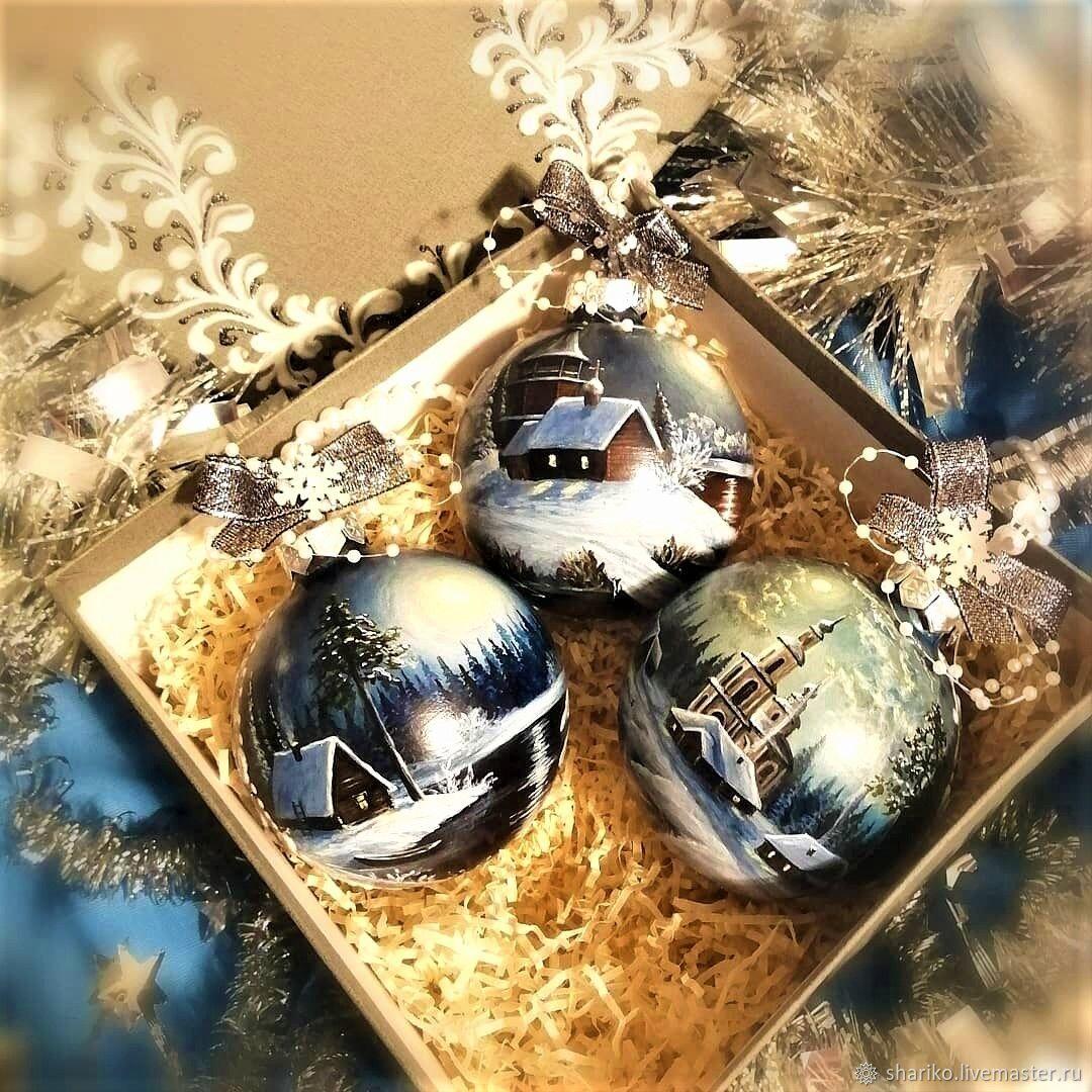"""Набор елочных шаров """"Ночь накануне Рождества"""", Елочные игрушки, Иркутск,  Фото №1"""