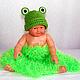 """Для новорожденных, ручной работы. Ярмарка Мастеров - ручная работа. Купить шапочка для фотосессии """"Лягушка"""" (для новорожденных новорожденным). Handmade."""