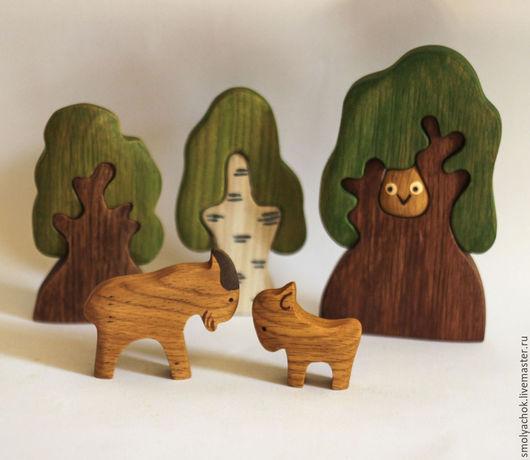 Игрушки животные, ручной работы. Ярмарка Мастеров - ручная работа. Купить Козёл с козлёнком, деревянная развивающая игрушка. Handmade.