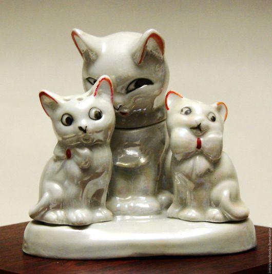 """Винтажные предметы интерьера. Ярмарка Мастеров - ручная работа. Купить Винтажный фарфоровый перламутровый набор для специй """"Кошки"""". Handmade. Кошки"""