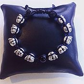 Украшения handmade. Livemaster - original item Unisex bracelet: black agate and skull. Handmade.