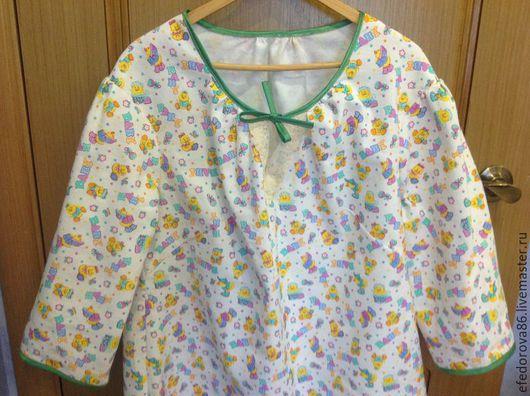 """Белье ручной работы. Ярмарка Мастеров - ручная работа. Купить Фланелевая ночная сорочка для милых мам """"утята"""". Handmade. Белый"""