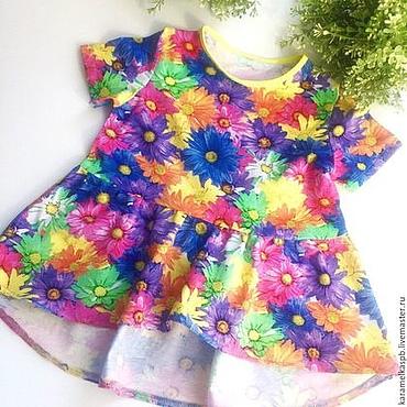 Работы для детей, ручной работы. Ярмарка Мастеров - ручная работа Яркая туника-платье для девочки. Handmade.