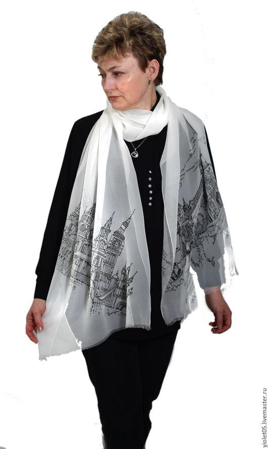 Шарфы и шарфики ручной работы. Ярмарка Мастеров - ручная работа. Купить London silk sсarf - шелковый палантин Лондон. Handmade.