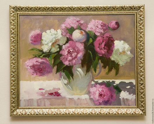 Картины цветов ручной работы. Ярмарка Мастеров - ручная работа. Купить Пионы (по мотивам). Handmade. Розовый, картина цветов
