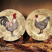 Посуда handmade. Livemaster - original item Plates on the wall ROOSTER AND HEN (set of 2 PCs). Handmade.