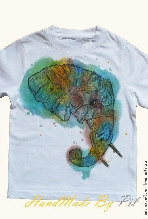 """Футболки, майки ручной работы. Ярмарка Мастеров - ручная работа. Купить Футболка """"Elephant"""". Handmade. Белый, ручная работа"""